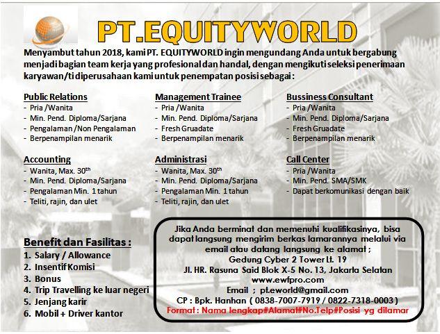 Lowongan Kerja Terbaru PT. EQUITYWORLD