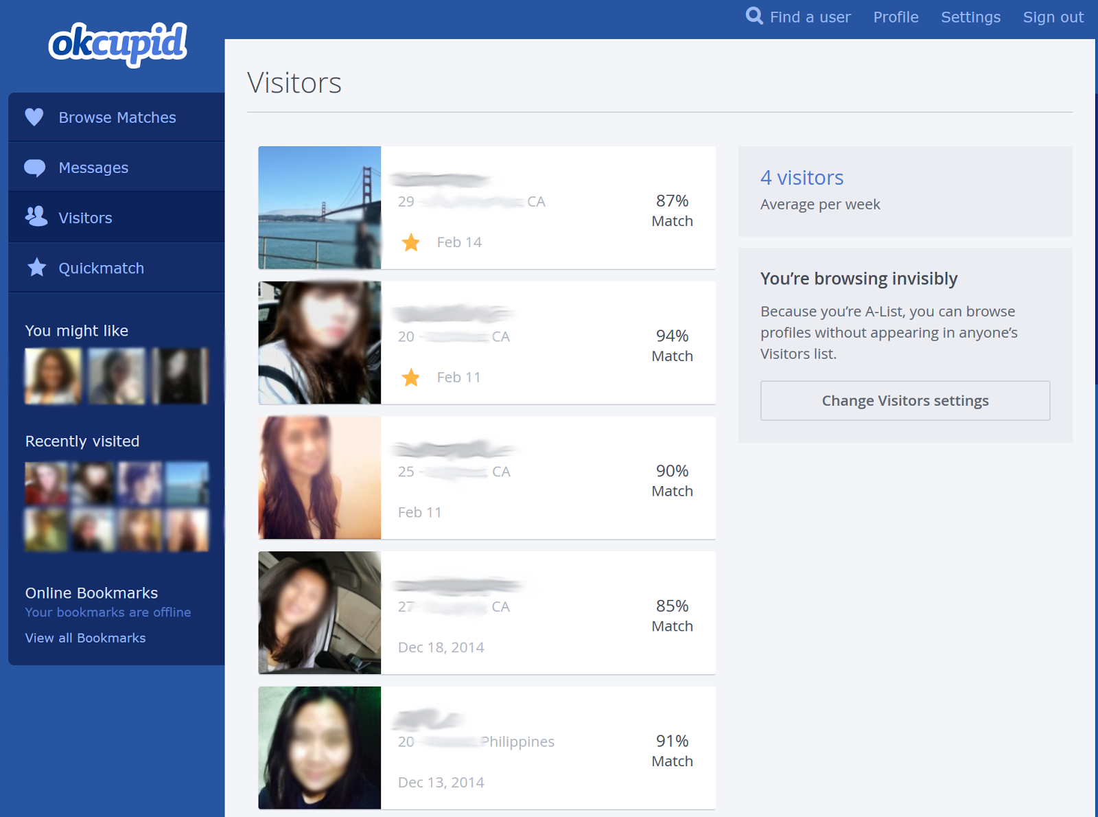 Okcupid app visitors  Top 237 Reviews and Complaints about api