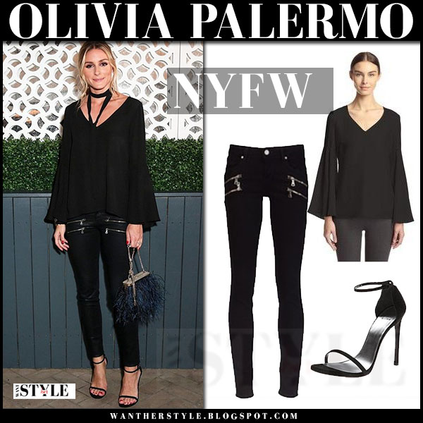 Olivia Palermo in black top, black leather pants and black sandals stuart weitzman what she wore nyfw outfit