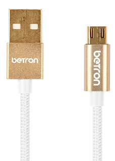 OFFER Data Cables £2.99 Betron Nylon Braided Reinforced Tangle Free USB Gold