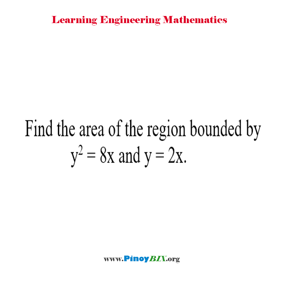 Find the area of the region bounded by y^2 = 8x and y = 2x.