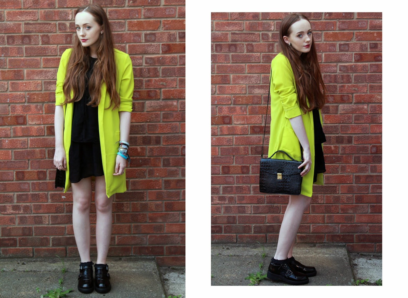 new look lime green duster jacket coat worn with zara black oversized dress, black primark bag and monk shoes september 2014