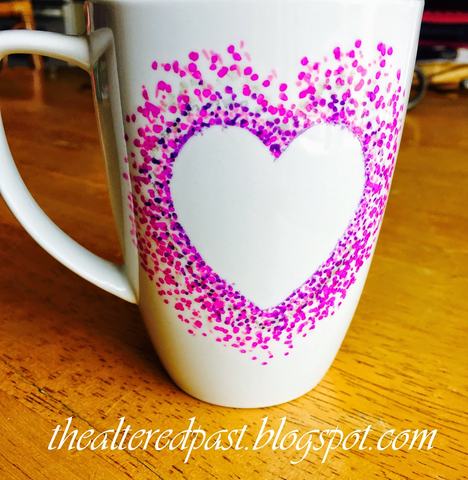 super easy sharpie decorated coffee mug for valentine's day
