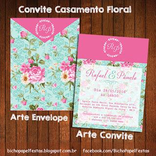 convite casamento floral azul e rosa