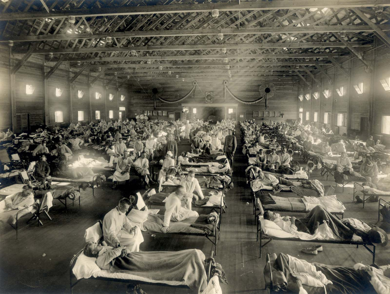 The first official cases of the 1918 Spanish flu pandemic were recorded at the U.S. Army's Camp Funston, Kansas, where this emergency influenza ward held treated patients.