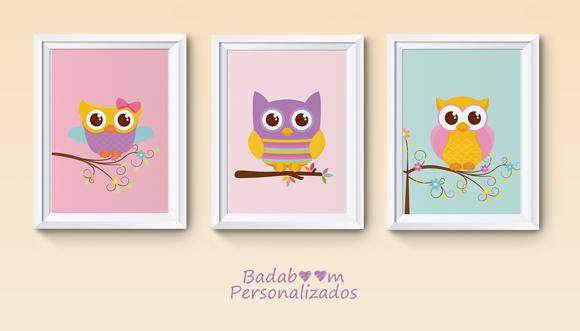 Trio de artes digitais para posteres de festa ou decoração no tema coruja