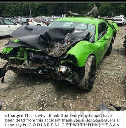 Offset hospitalised after car crash