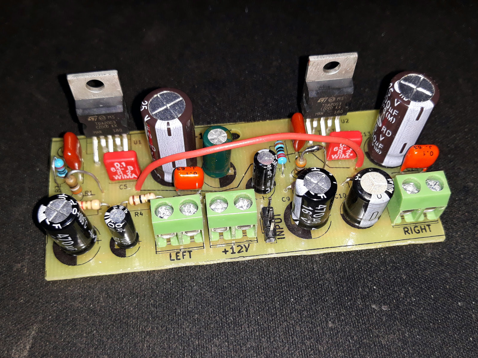 Stereo Audio Amplifier With TDA2003 · One Transistor