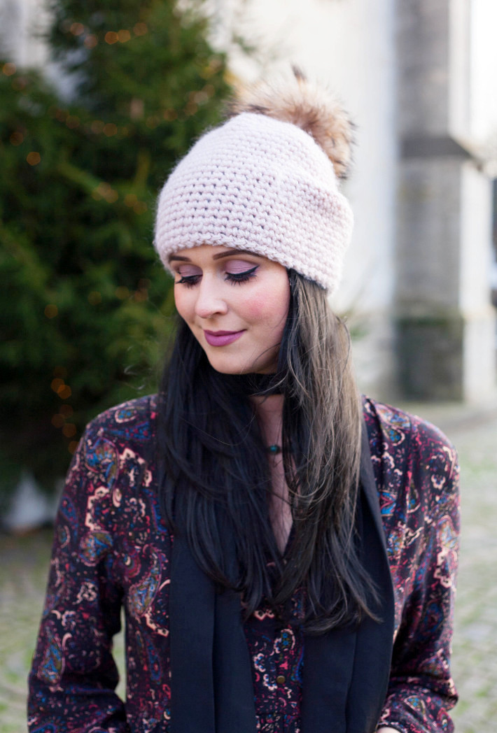 Outfit: 70s paisley dress, pom pom hat