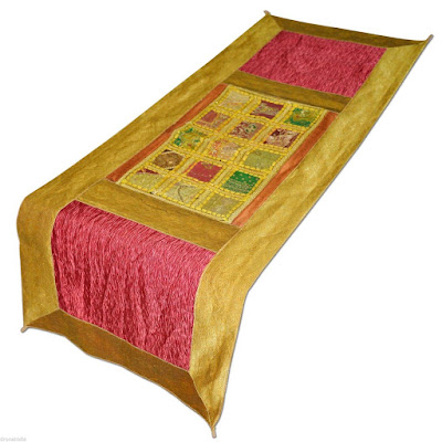 Brocade Silk Table Runner with Beads & Patch Work Table Cloth