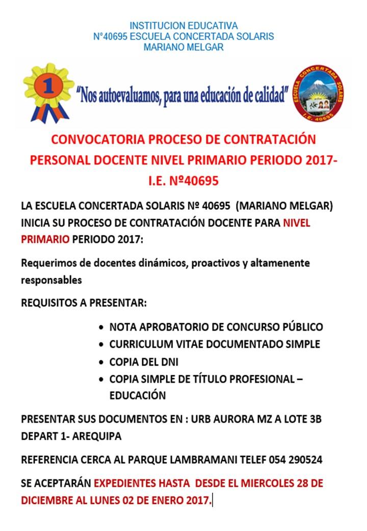 Convocatoria para contrato docente 2017 i e la escuela for Convocatoria de plazas docentes 2017