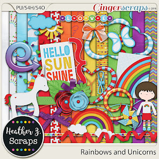 Creative Team, Annemarie, for Heartstrings Scrap Art – One-derful #17  and Rainbows and Unicorns by Heather Z Scraps with FREE Kit (Daily Download)  and Designer Spotlight - September, 2018 Challenge at GingerScraps: