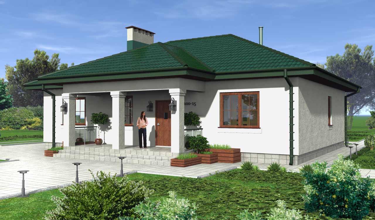 фото дома с зеленой крышей