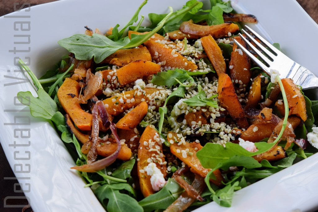 Roasted Acorn Squash, Arugula, Hemp Hearts Salad