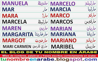 Nombres en Arabe gratis: Mar Marian Maribel