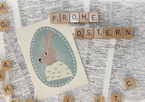 Osterkarte an Magnetpinwand mit Scrabble Buchstaben