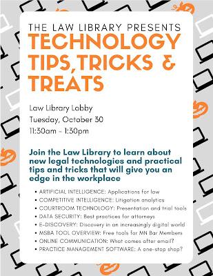 Law Lbrary Technology Tips, Tricks & Treats flier
