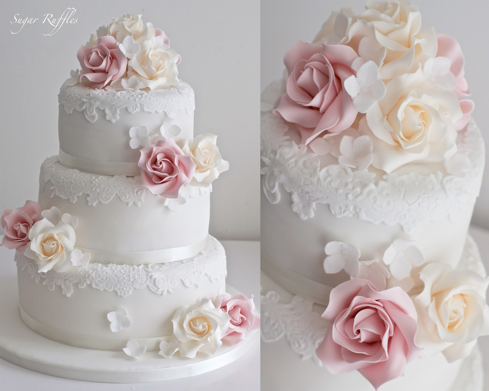 3 tier wedding cake with roses wedding cakes 10350