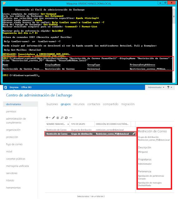 """New-DistributionGroup -Name """"Restricción de correo"""" -DisplayName """"Restricción de correo"""" -Alias """"Restriccion_correo"""" -Members """"Usuario_01@dom02.local"""""""