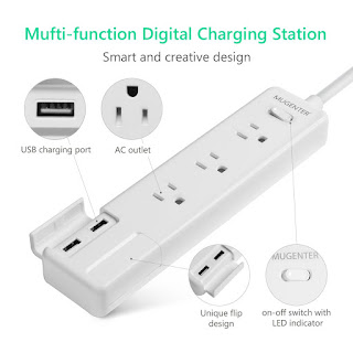 Mugenter Surge Protector 3 Outlets, 4 USB Ports Power Strip with 5ft Cord for Home & Office, White