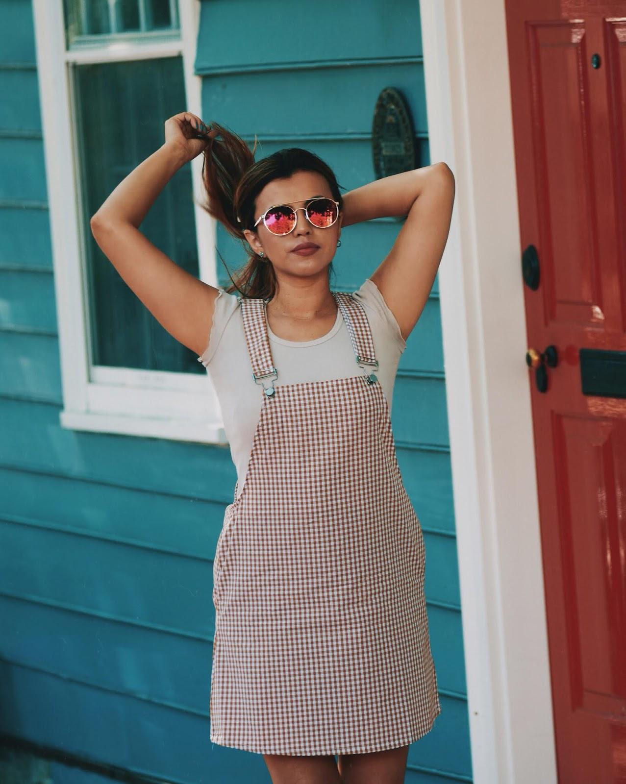 Gingham Overall- Mari Estilo-lookoftheday-shein-fashionblogger-vichy-estampados de moda-fashionista-blogger