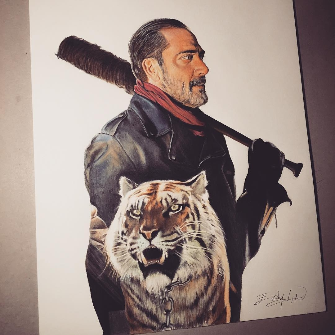 05-AMC-The-Walking-Dead-Negan-and-Shiva-Emre-Aydin-Celebrity-Pencil-Drawings-in-Movies-and-TV-www-designstack-co