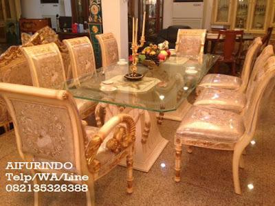 Meja Makan Klasik Eropa-Toko Mebel jati klasik-Toko jati-Furniture klasik mewah-Jual meja makan klasik eropa cat putih