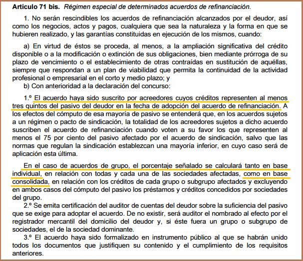 artículo 71.bis Ley Concursal