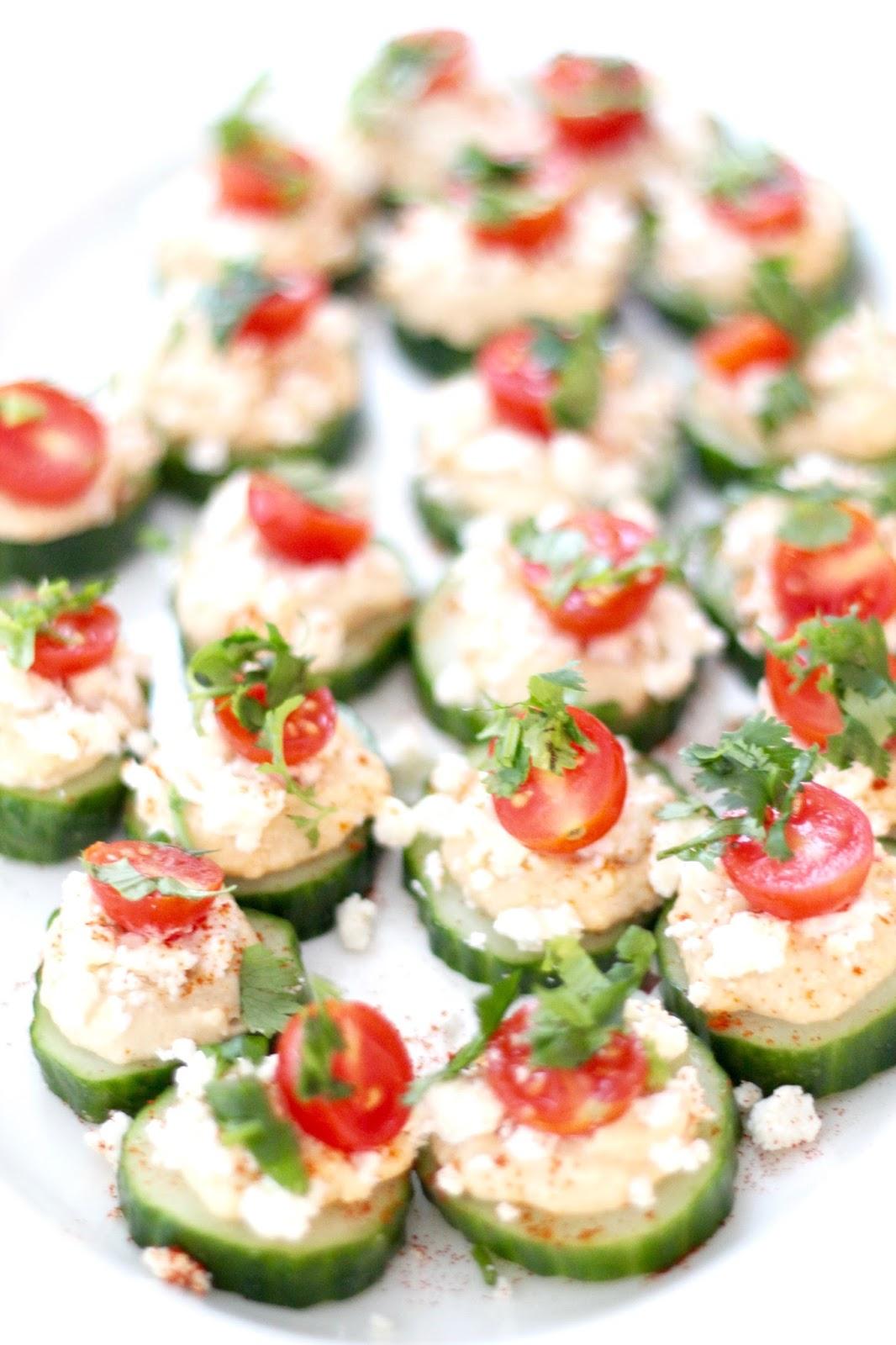 Cucumber and Hummus Bites