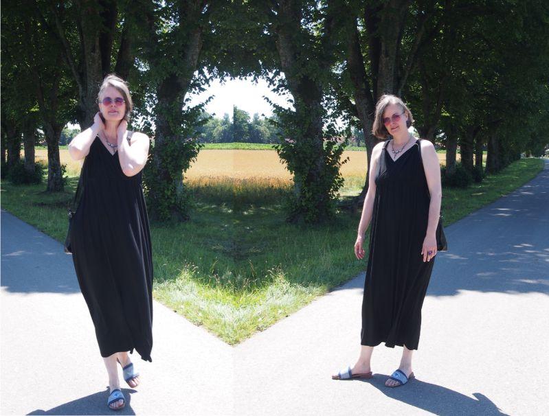 Schwarzes GAP-Shirtkleid hochsommerlich kombiniert
