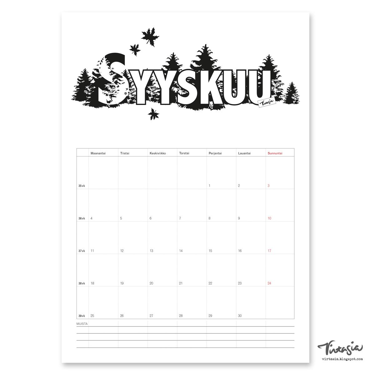 Virtasia Syyskuun 2017 Tulostettava Sein 228 Kalenteri