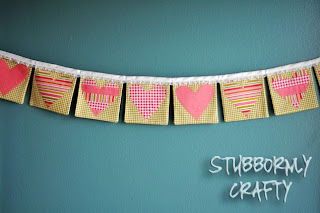 Valentine's Day banner, hearts, lace, handmade, tutorial