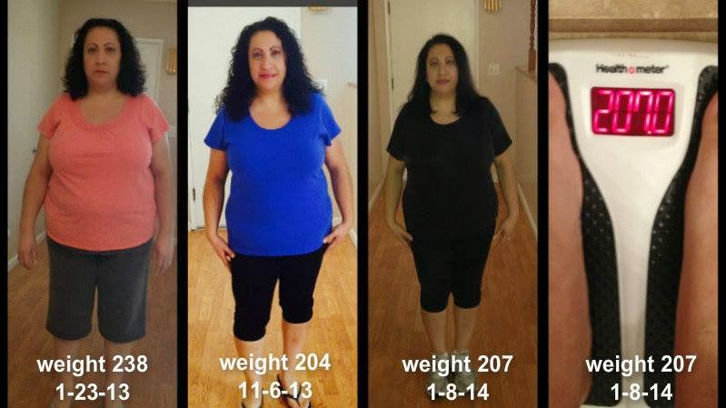 Donna's before and after weight loss pictures.