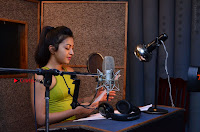 Actress Catherine Tresa Pos during Self Dubbing for Gautham Nanda Movie  0030.JPG