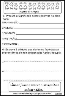 Panfleto sobre dengue em sala de aula