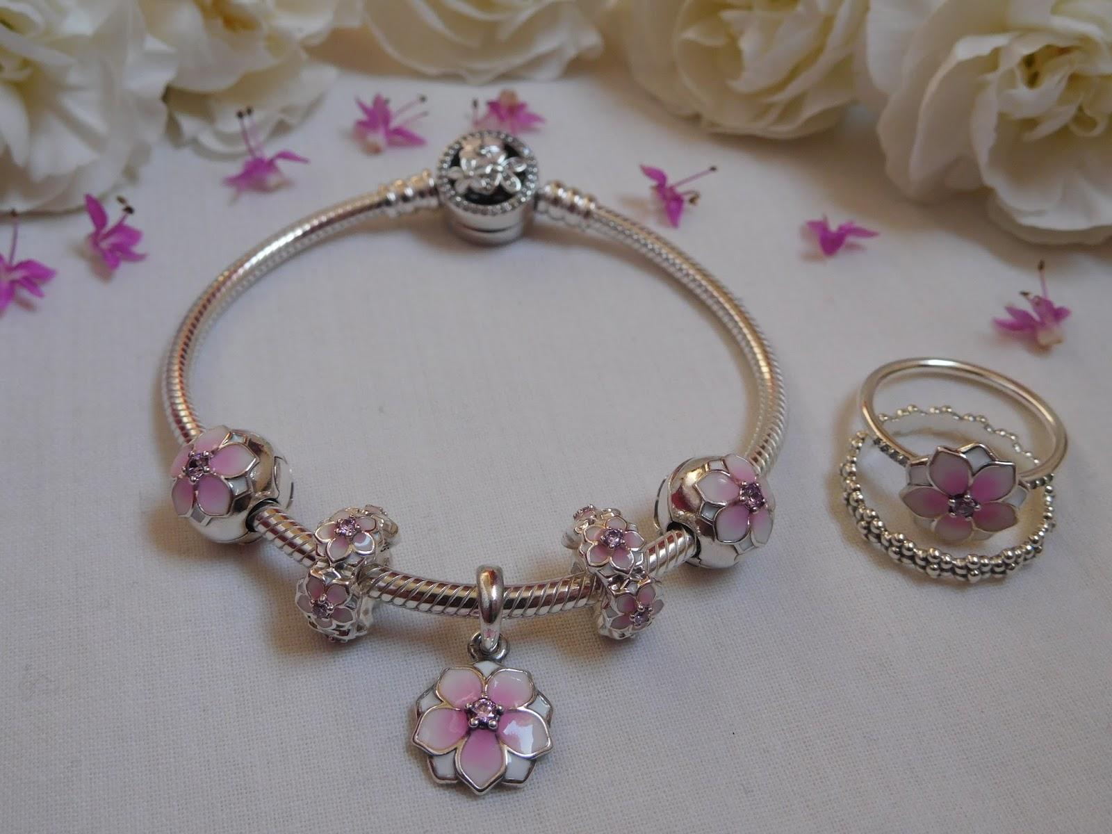 ed80cf65b49cf Pandora Magnolia Bloom Pendant, Spacer, Clip, Ring...