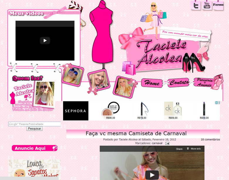Layout antigo blog Taciele Alcolea