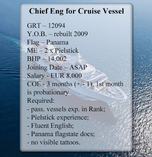 Chief Engineer for Cruise Vessel