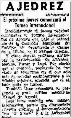 Nota de prensa sobre el II Torneo Internacional de Ajedrez Gijón 1945, 8 de julio de 1945