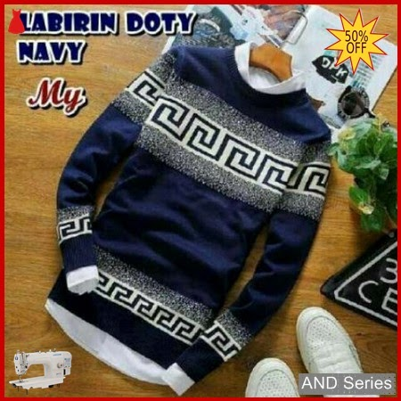 AND179 Sweater Pria Doty Labirin Biru Navy BMGShop