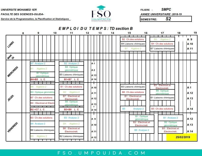 Emplois du Temps des TDs SMPC S2 Section B - Session Printemps 2018/2019