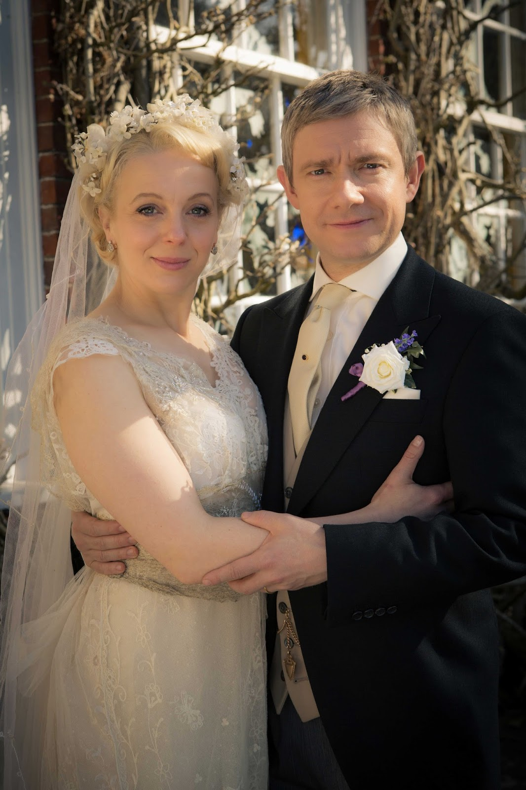 Martin Freeman and Amanda Abbington as John Watson and Mary Morstan in BBC Sherlock Season 3 Episode 2 The Sign of Three
