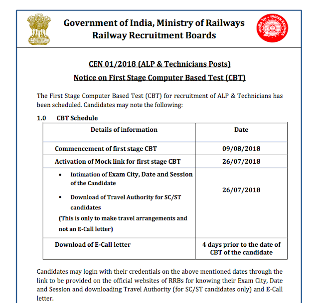 RRB Railway ALP Technician 2018 | First Stage Exam | Start 09 August 2018 | Download rrbbnc.gov.in