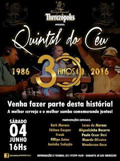 Quintal do Céu celebra 30 anos neste sábado, dia 4, no Higino em Teresópolis