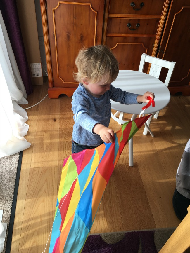 Lets-Go-Fly-A-Kite!-toddler-looking-at-kite
