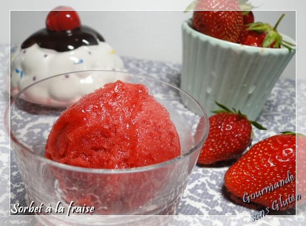 Sorbet à la fraise au miel avec gomme de guar