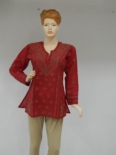 Lucknowi Chikan Red Cotton Tunic
