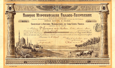 Banque Hypothécaire Franco-Egyptienne, 1910, share certifcate