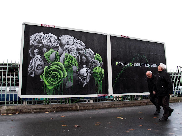 """""""Power Corruption And Lies"""" New Street Piece by French artist Ludo in Paris, France. 1"""
