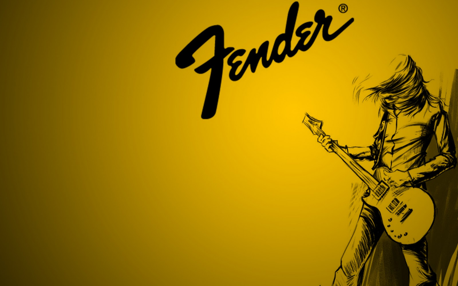Fender Electric Guitar Playing Sketch Drawing Black And Yellow Stratocaster Nice Music Desktop HD Wallpaper 2560x1600